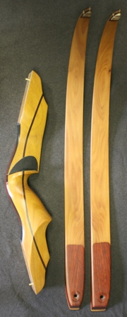 Osage riser with canary/belly and osage/back limbs with deer antler tips